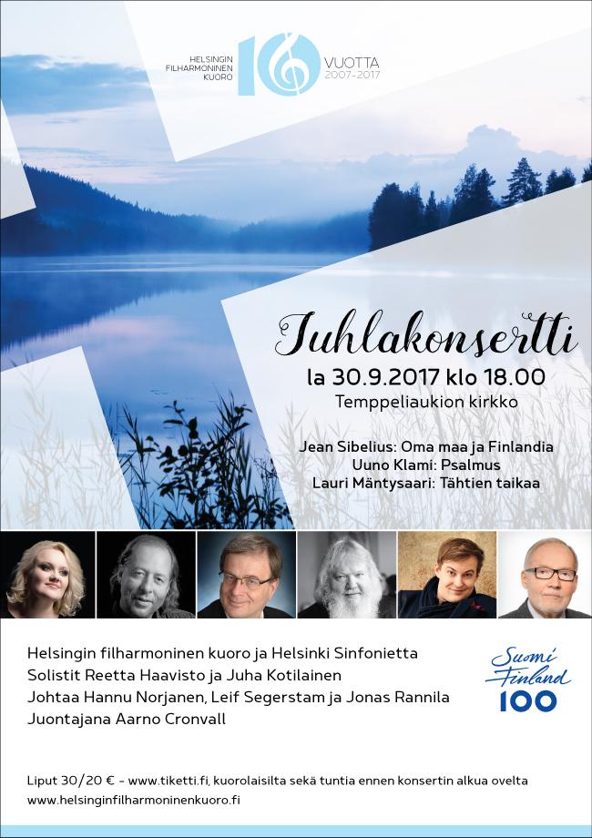 Juhlakonsertti: Helsingin filharmoninen kuoro ja Helsinki Sinfonietta 30.9.2017